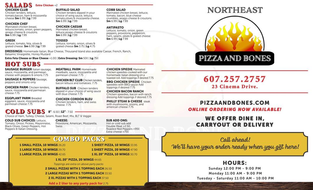 Northeast Pizza and Bones Menu
