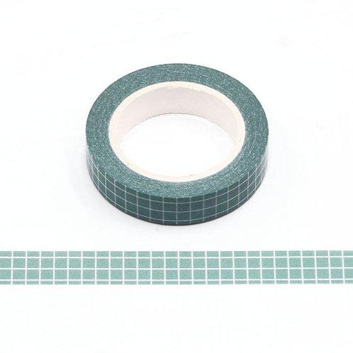Sleepy Green Grid Washi Tape (Slim)