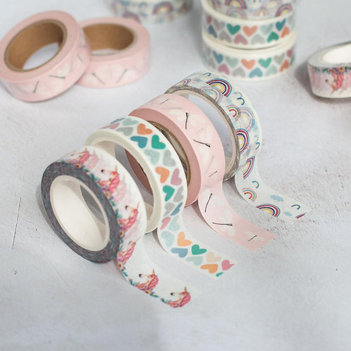 Unicorns, Rainbows, Hearts Oh My! Washi Tape Set of 4