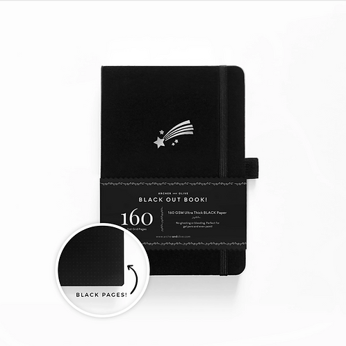 Archer & Olive A5 Dot Grid Notebook with BLACK Pages - Shooting Star
