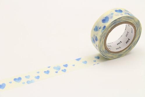 MT Heart Stamp Blue Washi Tape