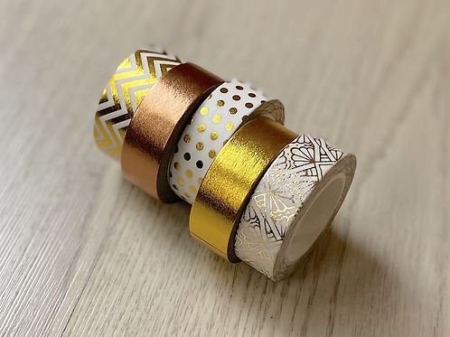 Festive Gold Washi Tape Pack of 5