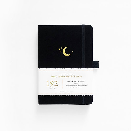 Archer & Olive A5 Dot Grid Notebook - Crescent Moon 192 PAGES