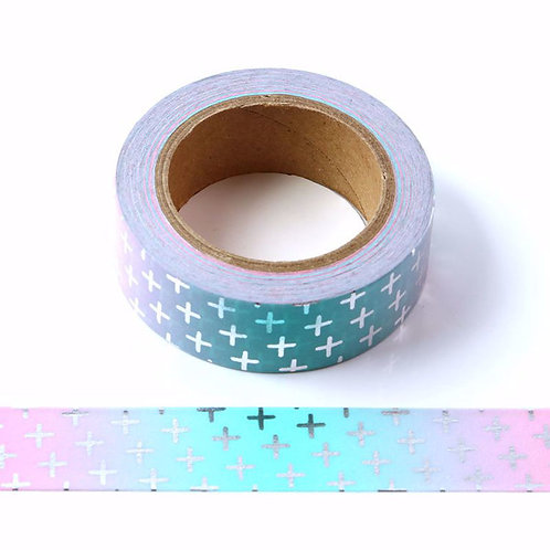 Ombre Crosses with Silver Foil Washi Tape