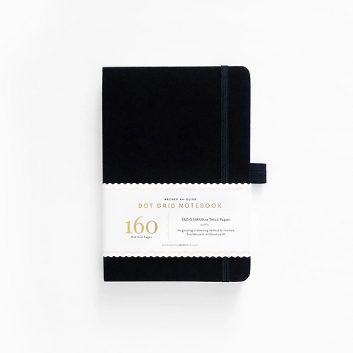 Archer & Olive A5 Dot Grid Notebook - Black