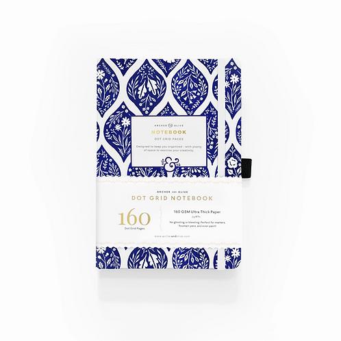 Archer & Olive A5 Dot Grid Notebook - Fleur-De-Blue