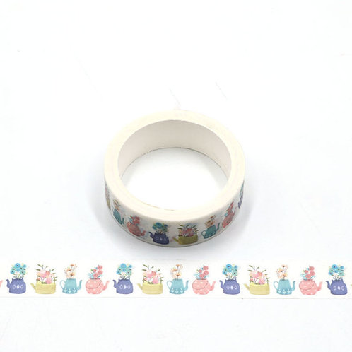 Teapot Flowers Washi Tape