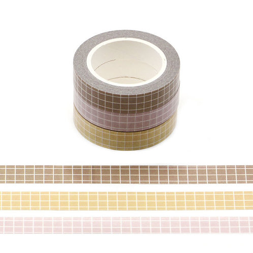 Neutral Grid Washi Tapes Pack of 3