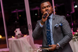 Doing my MC thing at a wedding
