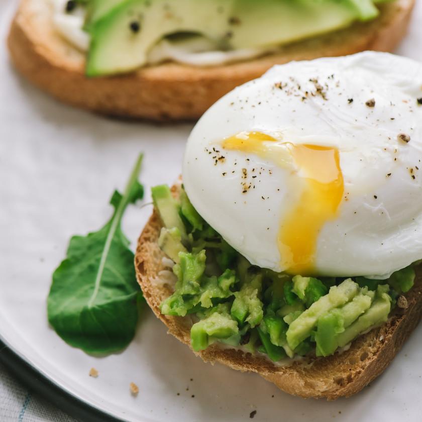 Poached egg on avocado toast.