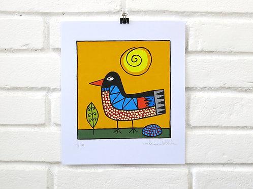 Serigrafia Pássaro com Sol