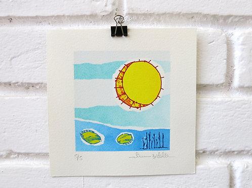 """Serigrafia em Pequeno Formato """"Sun Eggs"""""""
