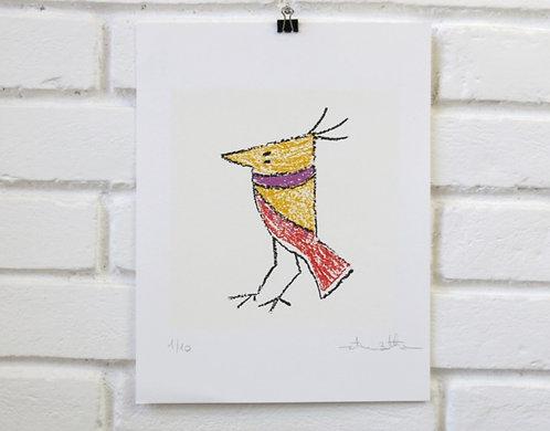"""Serigrafia Pássaro """"estilo Giz"""""""