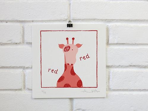 Serigrafia Girafa contorno vermelho