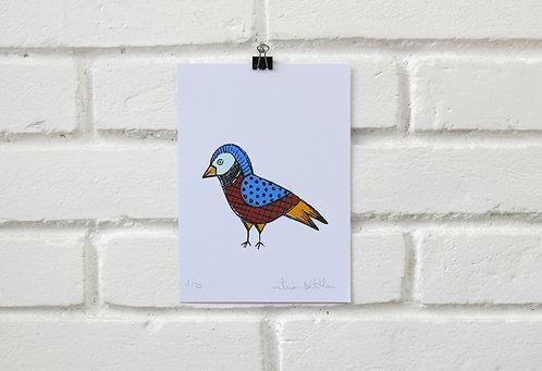 Serigrafia Pássaro da Mantiqueira Azul