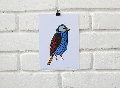 Serigrafia Pássaro da Mantiqueira Azul Grande