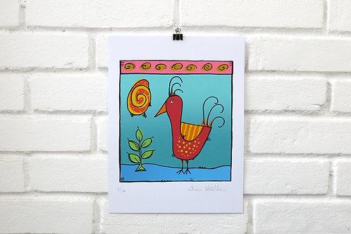Serigrafia Pássaro Vermelho