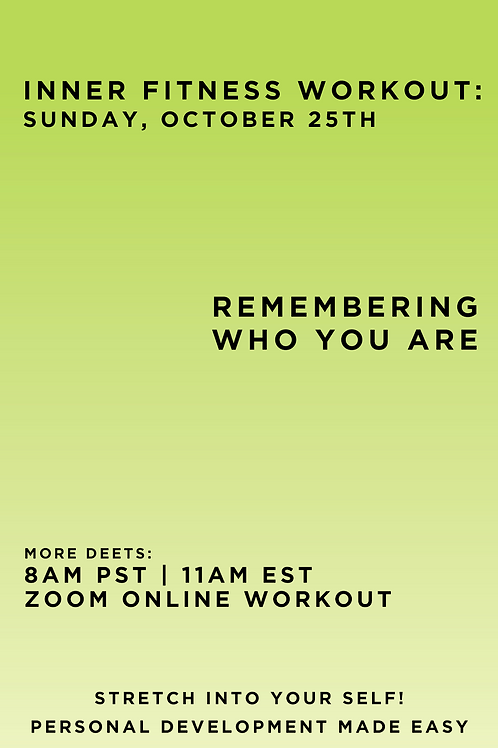 October 25th Inner Fitness Workout