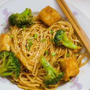 Sweet and Spicy Noodle With Broccoli and Crispy Tofu