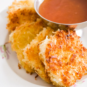 Coconut Crusted Tofu With Sweet and Sour Sauce (Vegan)