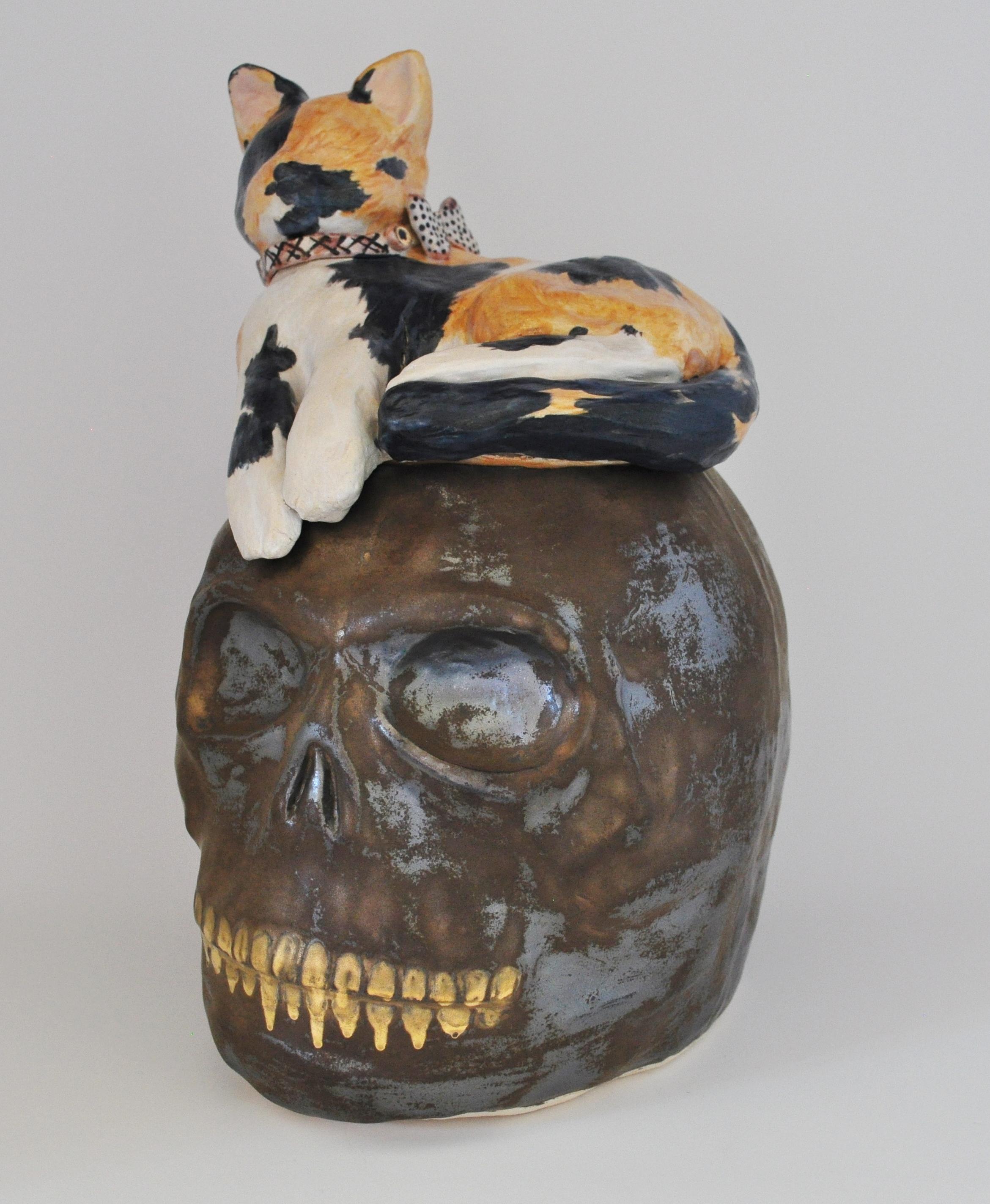 Pussy, Cat Skull cookie jar
