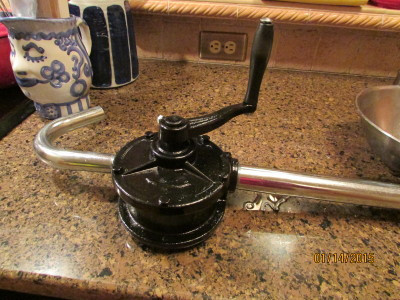 Iron rotary pump lying on our kitchen counter.