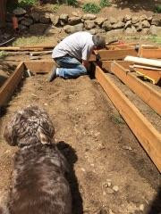 Framing the deck with the supervision of Rowlf, the hound.