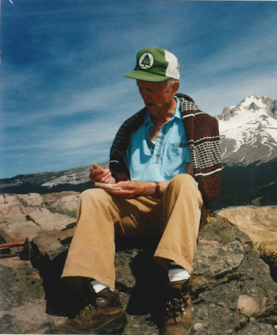 Clarence Richen on top of Mount Multorpor, Government Camp, Oregon