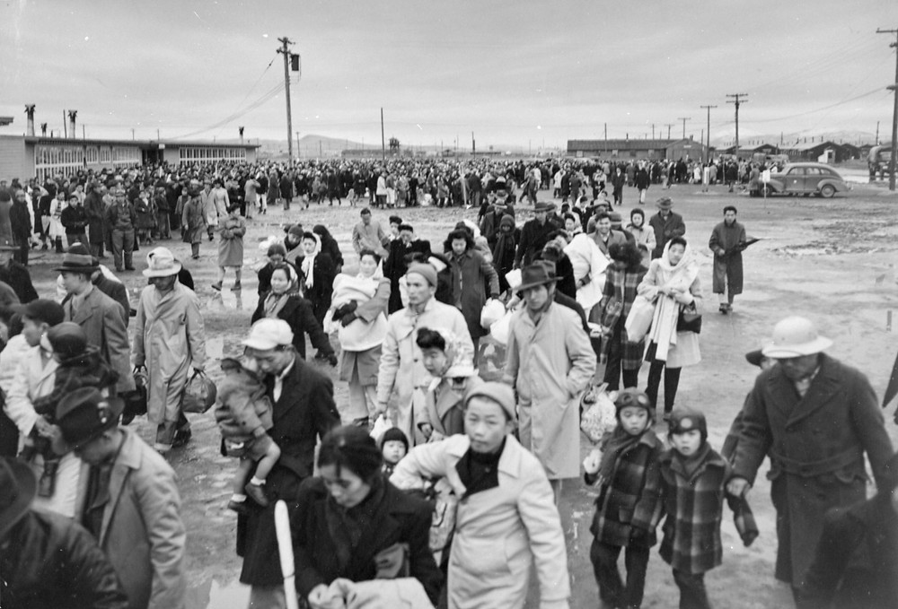 Hundreds of Japanese-Americans at one of several concentrations camps during World War Two