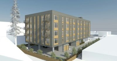 from OregonLive.com, rendering of proposed apartment building for low income families.