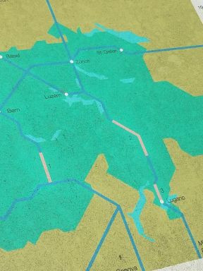 Tunnel map shows two tunnels that go miles into the alps before they reach a passable area on the surface.