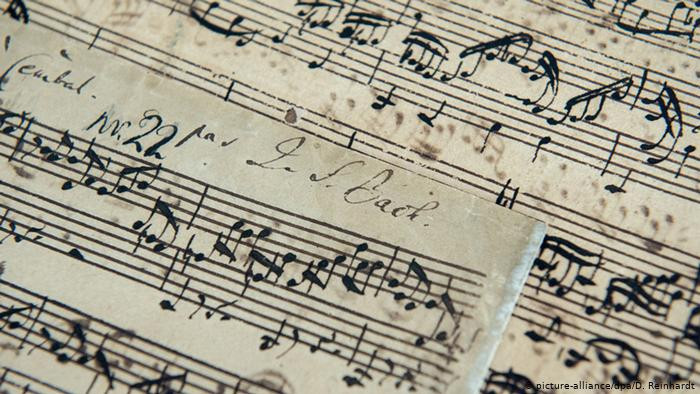 photo by D. Reinhardt of Bach manuscript original sold at christie's auction house 2016 for 2.5 million pounds