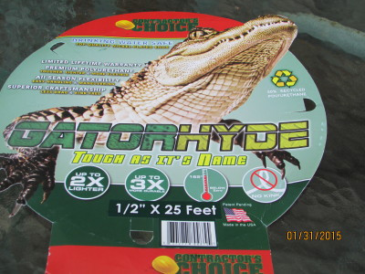 Gatorhyde hose package for drinking water only.