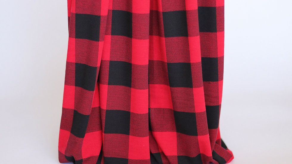 Plaid French Terry: Red