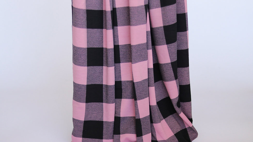 Plaid French Terry: Pink
