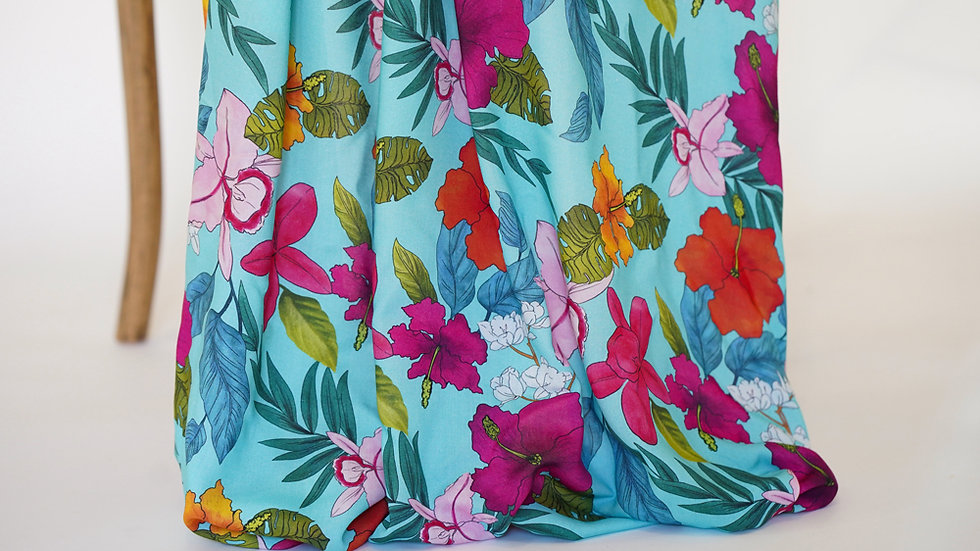 Mimi G Rayon Floral Teal