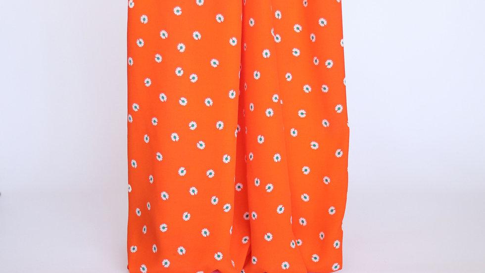 Rayon Print: Orange/White