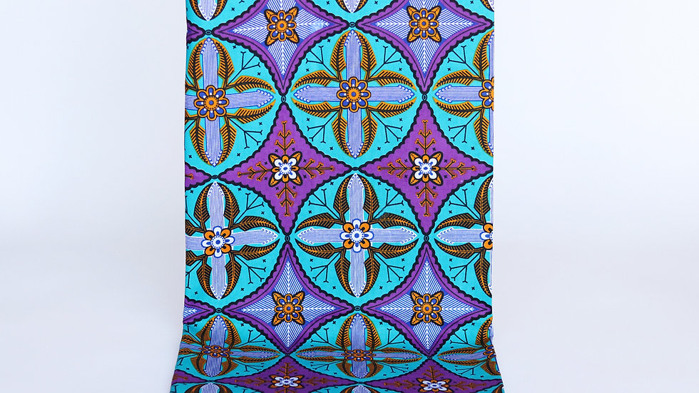 African Print Turquoise/Purple