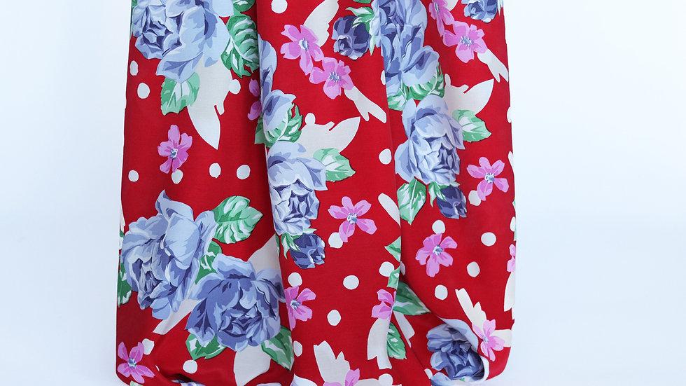 Rayon Print: Red/White