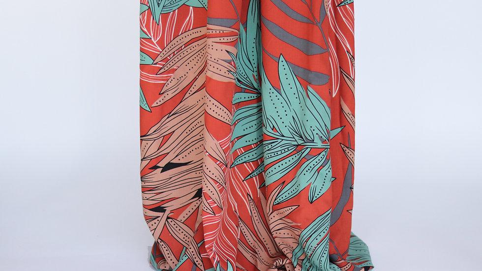 Palm Print Poplin Rust/Mint