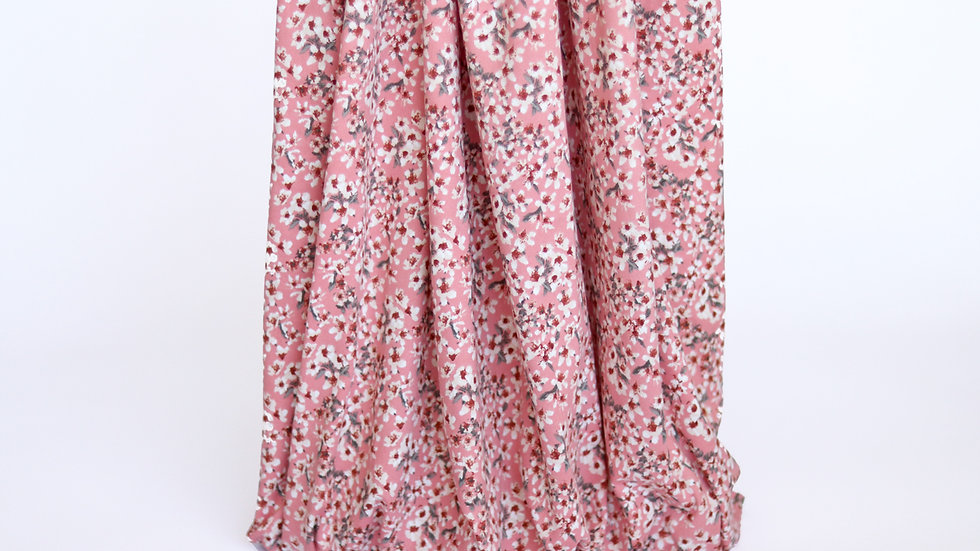 Double Brushed Knit: Dusty Pink Floral
