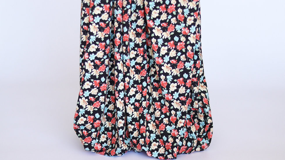 Double Brushed Knit: Black Floral