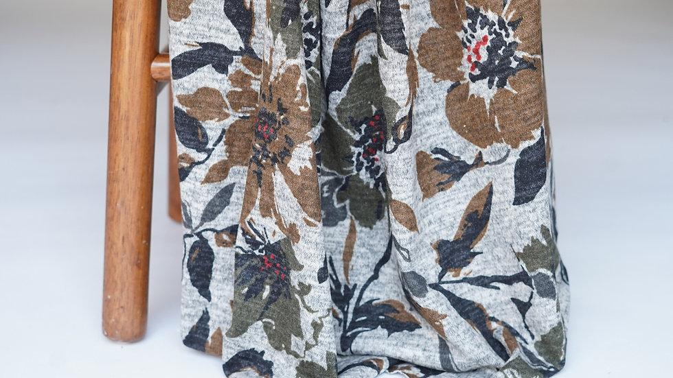 Topaz Print Sweater Knit Grey/Moss