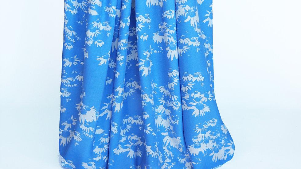 Rayon Print: Blue/White