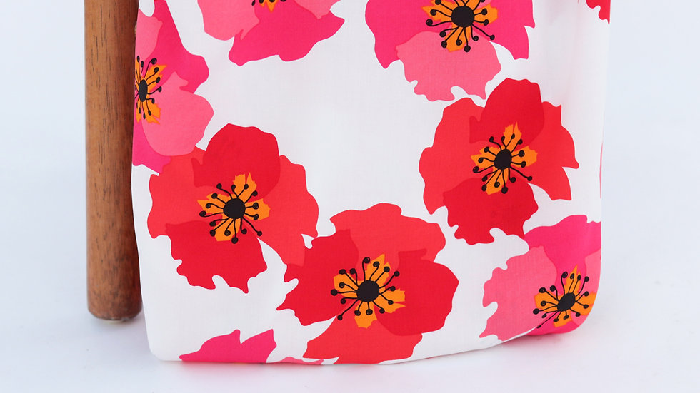 Picasso Poplin Floral Red White