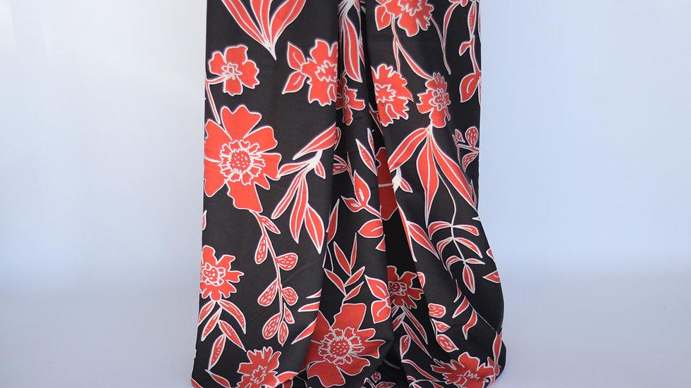 Flower Poplin Black/Orange