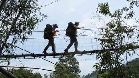 High on rope bridge
