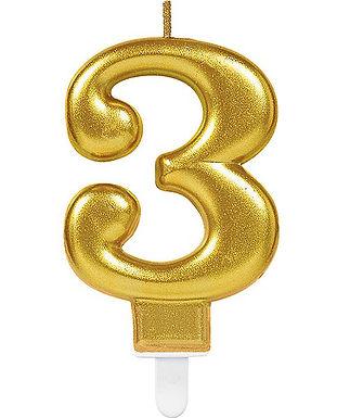 """Zahlenkerze """"3"""", gold"""