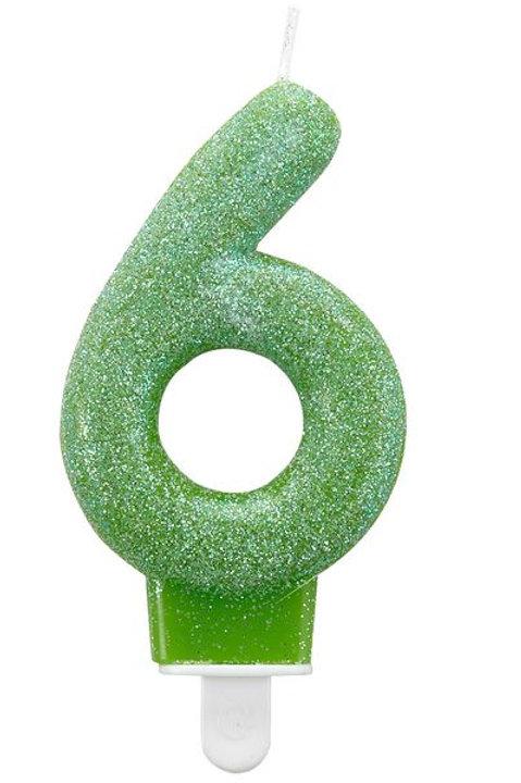 "Zahlenkerze ""6"", Glitzer, grün"