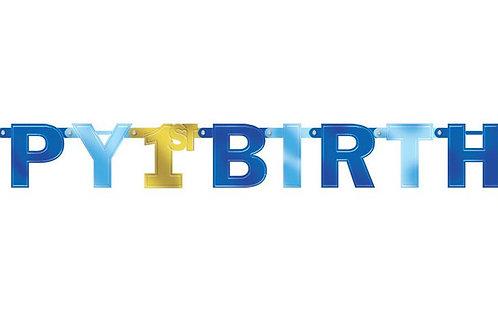 Girlande zum 1. Geburtstag in blau/gold